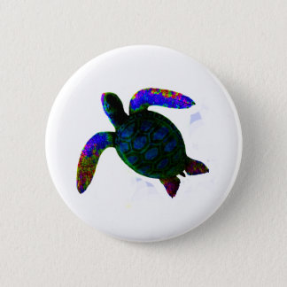 Turtle Blue jGibney The MUSEUM Zazzle Gifts Button