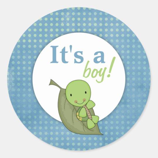 Turtle Blue Polka Dot Baby Shower Classic Round Sticker