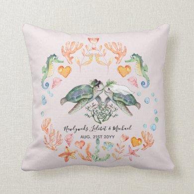Turtle Bride and Groom Ocean Sea Life Newlyweds Throw Pillow