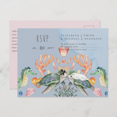 Turtle Bride and Groom Ocean Sea Life Wedding RSVP Postcard