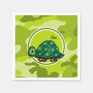 Turtle; bright green camo, camouflage disposable napkins