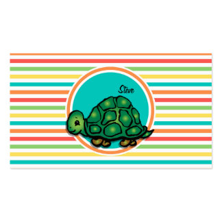 Turtle Bright Rainbow Stripes Business Cards