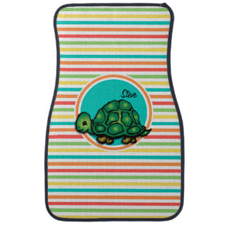 Turtle; Bright Rainbow Stripes Car Floor Mat