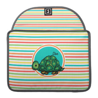 Turtle; Bright Rainbow Stripes Sleeve For MacBook Pro