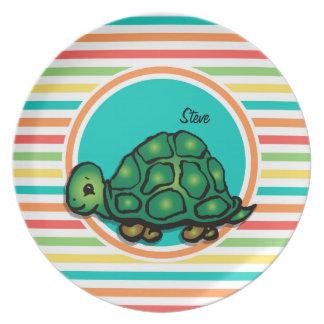 Turtle; Bright Rainbow Stripes Plates