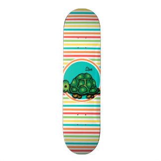Turtle; Bright Rainbow Stripes Skate Boards