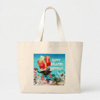 Turtle carring gift for belated birthday large tote bag