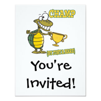 turtle champ by just a hare fable pun 4.25x5.5 paper invitation card