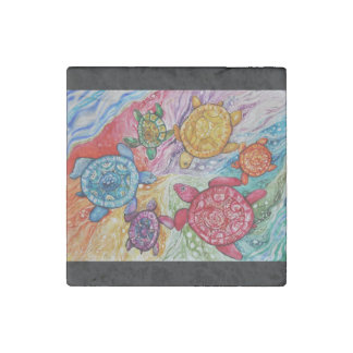 Turtle Color Wheel Stone Magnet