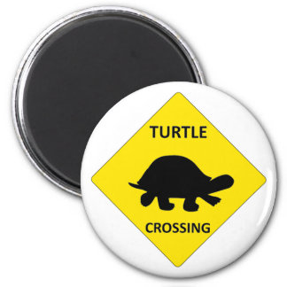 Turtle crossing sign 2 inch round magnet