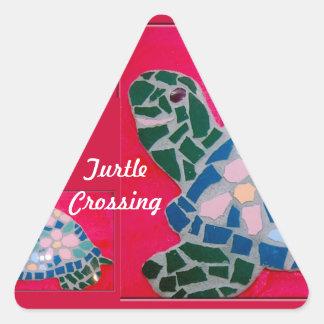 Turtle Crossing Triangle Sticker