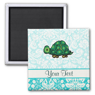 Turtle; Cute 2 Inch Square Magnet