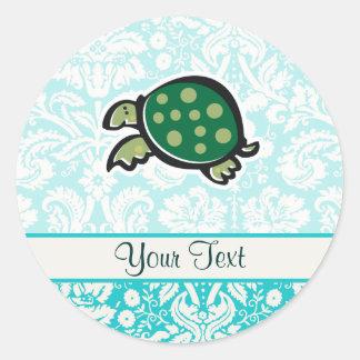 Turtle; Cute Classic Round Sticker