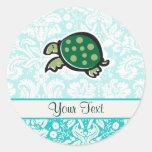 Turtle; Cute Round Sticker