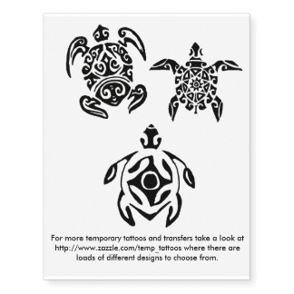 Turtle design transfers and temporary tattoos