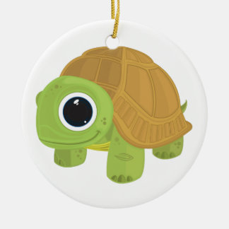Turtle Double-Sided Ceramic Round Christmas Ornament