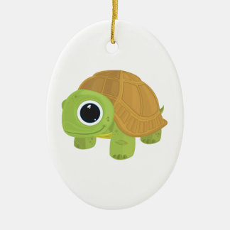 Turtle Double-Sided Oval Ceramic Christmas Ornament