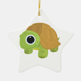 Turtle Double-Sided Star Ceramic Christmas Ornament