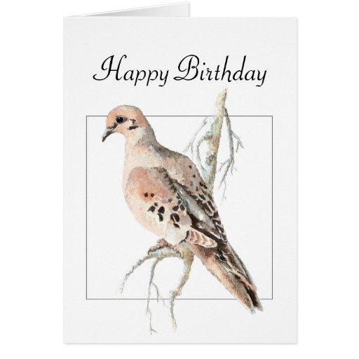 Turtle Dove, Bird, Blank Birthday Greeting Card