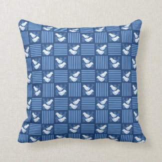 Turtle Doves Blue Checkerboard Pillow