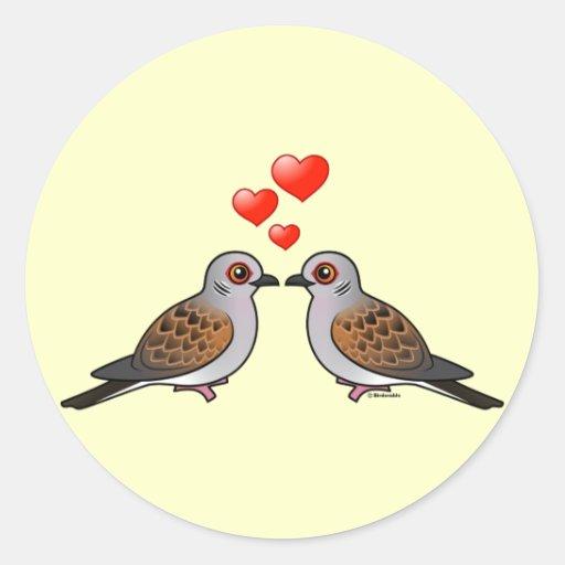 Turtle Doves in Love Classic Round Sticker