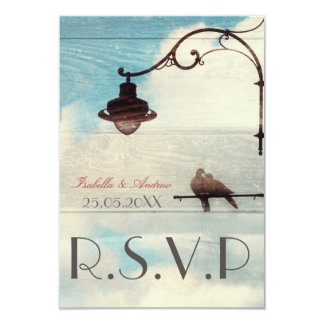 "Turtle Doves - love and faithfulnes - wedding RSVP 3.5"" X 5"" Invitation Card"
