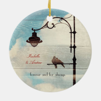 Turtle Doves - love and faithfulness Double-Sided Ceramic Round Christmas Ornament