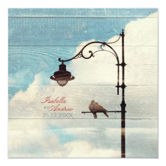 "Turtle Doves - love and faithfulness 5.25"" Square Invitation Card"