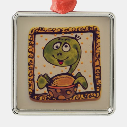 Turtle drawing square metal christmas ornament