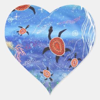 Turtle Dreaming Heart Sticker
