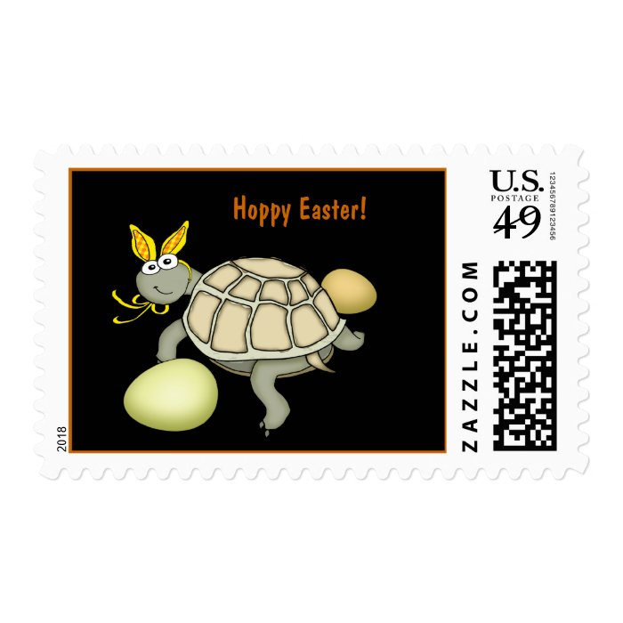 Turtle Easter Bunny with Eggs! Postage Stamp