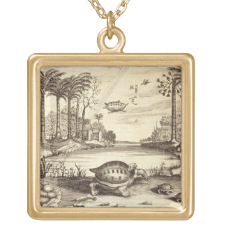 Turtle Eggs Hatching, from 'China Illustrated' by Square Pendant Necklace