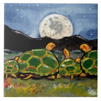 """Turtle Family and Moon Night Scene 6"""" Tile Trivet"""