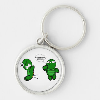 Turtle Fart Silver-Colored Round Keychain