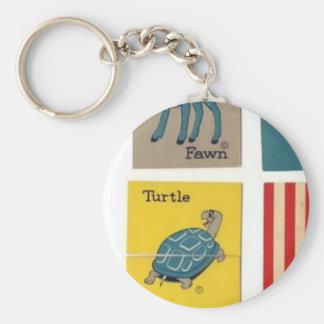 Turtle/Fawn Basic Round Button Keychain