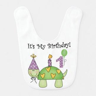 Turtle First Birthday Bib