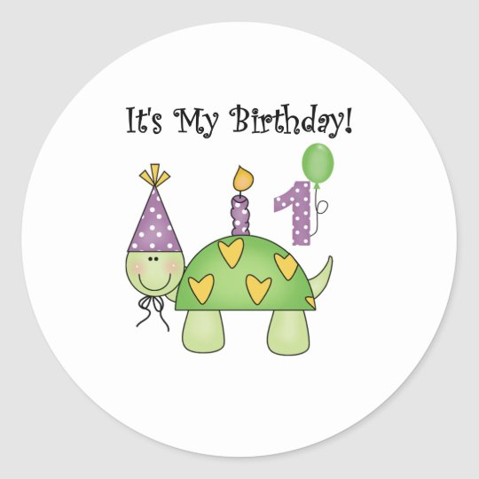 Turtle First Birthday Classic Round Sticker