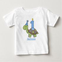 Turtle First Birthday Tshirt blue Personalized