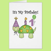 Turtle First Birthday Tshirts and Gifts Card