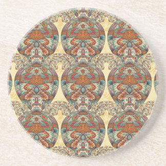 Turtle Floral Pattern Drink Coaster