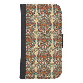 Turtle Floral Pattern Wallet Phone Case For Samsung Galaxy S4