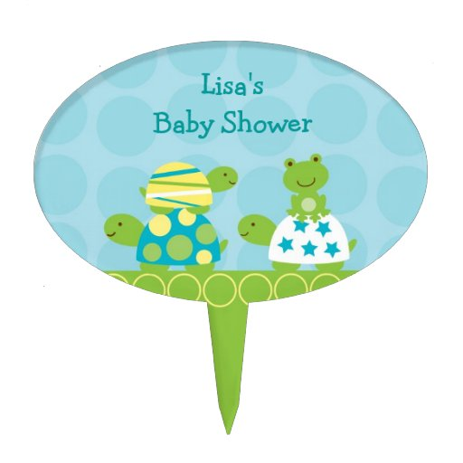 Turtle Frog Baby Shower Cake Topper