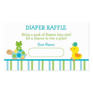 Turtle Frog Diaper Raffle Tickets Business Card Template