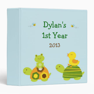 Turtle Frog Duck Baby Photo Album Scrapbook 3 Ring Binder