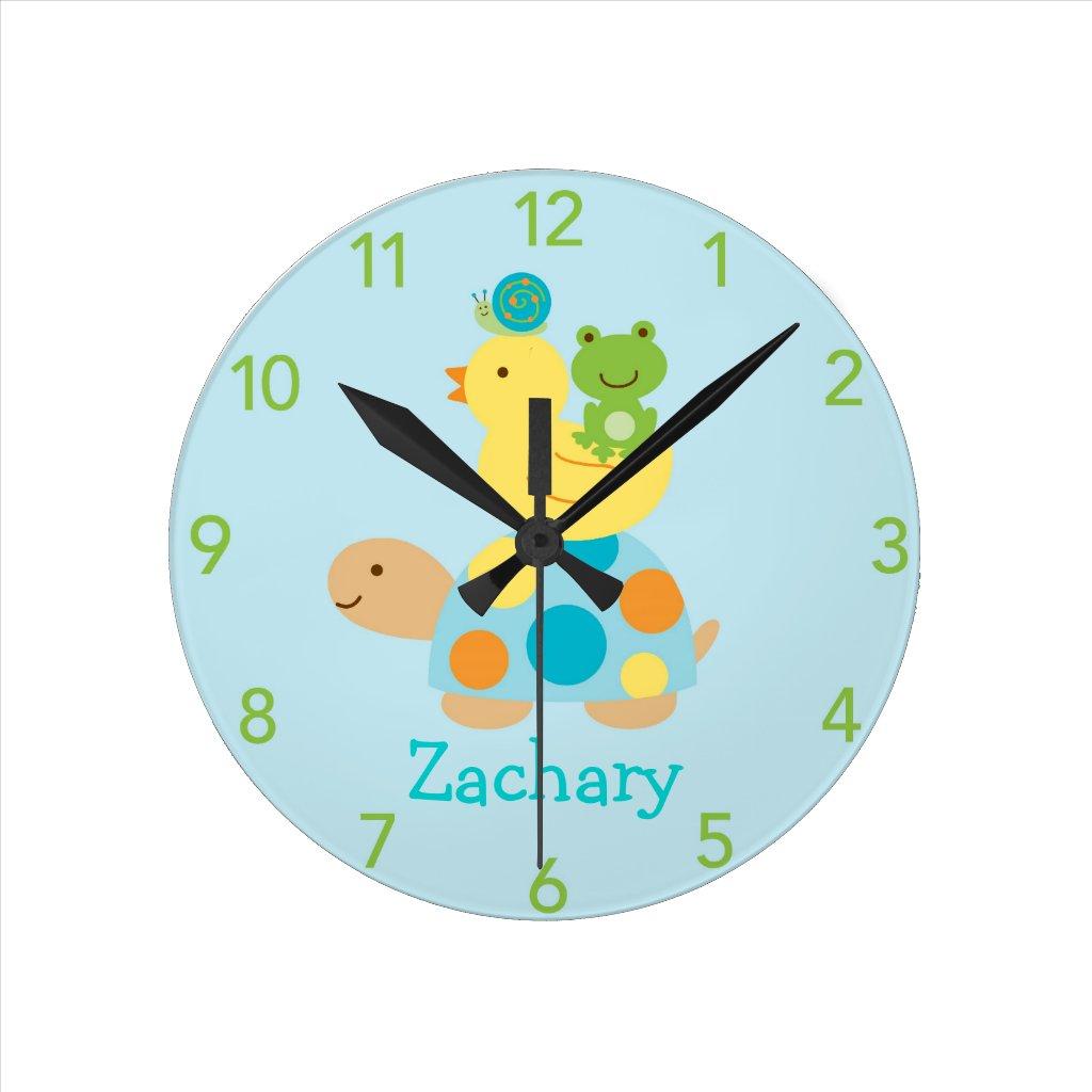 Turtle Frog Duck Personalized Nursery Wall Clock