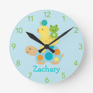 Turtle Frog Duck Personalized Nursery Wall Clock