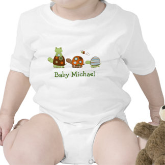 Turtle Frog Personalized Baby Kids Creeper T-Shirt