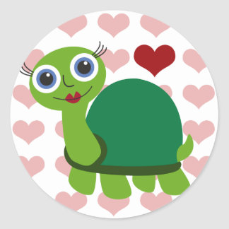 Turtle Girl Classic Round Sticker
