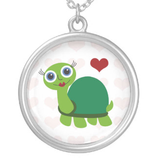 Turtle Girl Round Pendant Necklace