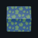 """Turtle Green and Blue Graphic Checkbook Cover<br><div class=""""desc"""">Anyone who loves turtles will enjoy having our graphic Native American green turtle design in their home or office. Our original design features the cute yellow,  green  turtle with a swirl print shell in a fun pattern on blue. Custom designs available.</div>"""